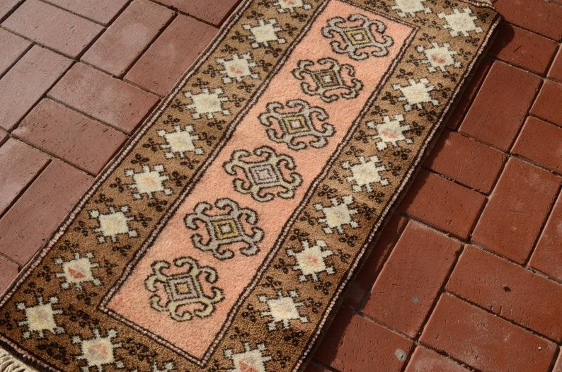 Fireplace rug Handmade rug Turkish carpet Naturel Wool Carpet 1.65x3.60ft Entry rug Soft Pink rug Oushak rug Bedside rug Boho rug