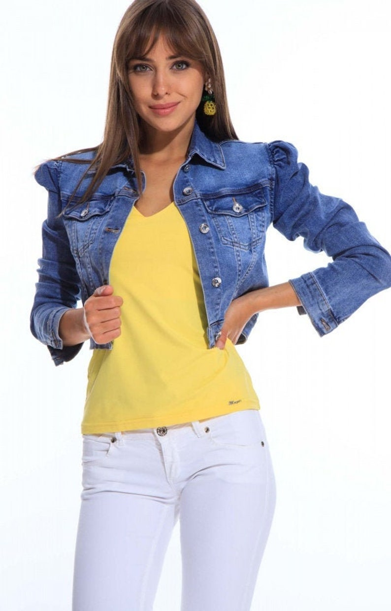 Mayo Chix Women Girl Puff Long Sleeve button Down Jeans Denim image 0