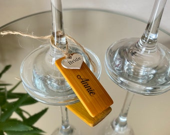 Personalised Wooden Wine Glass Charm - Wedding, Anniversary