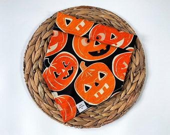 Pumpkin Tie On Dog Bandana, Dog Neck Wear, Dog, Bandana, Fall Dog Bandanas, Halloween Dog Bandana, Glensbandannaco, Glensbandanaco