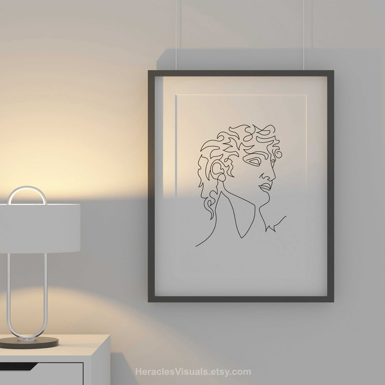 Continuous Line Art Living Room Wall Decor Abstract Men Art Heracles Figure Silhouette Elegant Greek statue Print David Profile Line Art