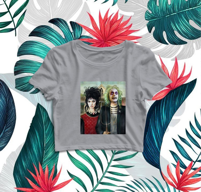 Beetlejuice American Gothic Vintage Shirt Classic Movie Mash Up Crop Tee Crop Top Size S M L XL Summer Vibe Birthday Gift