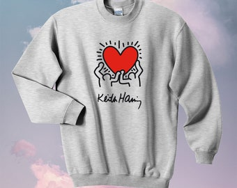 Keith Harring Sweatshirt Hoodies Sweater Pop Art Design K Haring hipster Swag T-Shirt Sz M