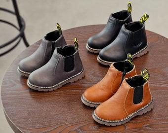 Kids Girls Boys Toddlers Children's Winter Chelsea Fur Lined Ankle Boots, Weatherproof Boots, Leather Material, Warm Boots