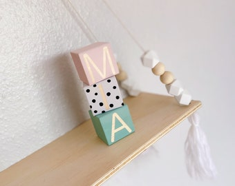 Personalised Wooden Name Blocks, Wooden Blocks with Letters, Baby Blocks, Wood Blocks for Nursery, Wooden Block Baby Gift, Nursery Decor
