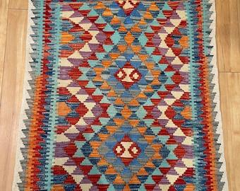 Oriental Afghan Handmade Kilim Area Rug Wool Natural Colours Afghan Turkish Nomad Persian Traditional 110x83cm Vintage Runner Hallway Stairs