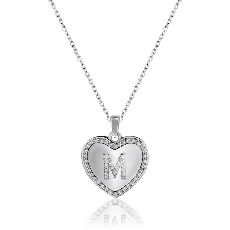 Miami Jewelers Inc Cubic Zirconia Initial Necklace for Women and Girls \u2013 925 Sterling Silver Heart Pendant with Adjustable Chain