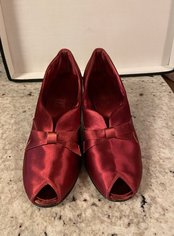 1940s Satin Crimson Slippers with Bows