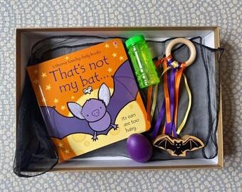 Halloween Baby Sensory Box with wooden bat