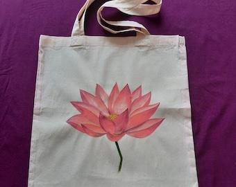 Lotus Flower Large Organic Tote Bag