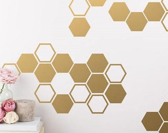 Geometric Stickers Stickers Confetti Decal Wall Pattern Decals Set of 50 Hexagons Hexagon Geometric Decal Hollow Hexagon Wall Stickers
