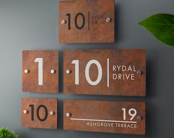 House Number Sign Printed Rust Effect Address Signage - Rusty Effect Acrylic - Multiple Sizes Available