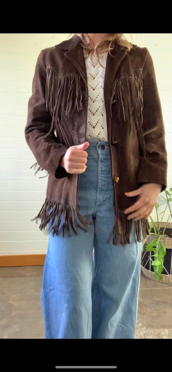 Vintage Suede Leather Fringe Jacket, 1970s, Pionee