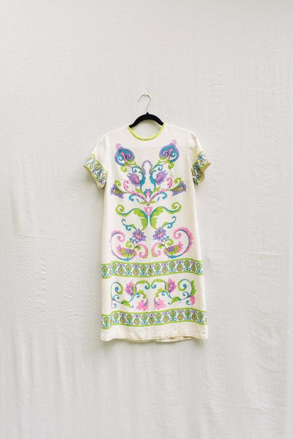 60s Alfred Shaheen Shift Dress // Neon Paisley Flo