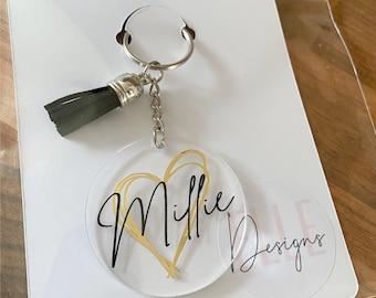 Personalised keyring, Personalised acrylic keyring Name keyring Personalised gifts Birthday Gifts, Gifts for her, Name gifts, Tassel keyring