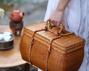Oriental Woven Art-Picnic Basket,2 Sizes Storage/Home Decor