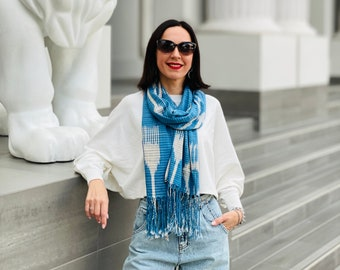 Blue White Cotton Ikat Scarf, All Season Scarf, Unisex Scarves, Gifts for Mom, Gifts for Her, Christmas Gifts