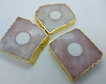 Rose Quartz Tea Light Holder , Rose Gold Plated , Polished Rose Quartz Candle Holder ,Rose Quartz Candle Holder - 1 Piece