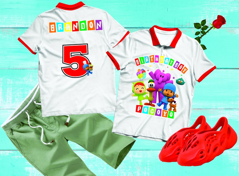 Pocoyo Front Back Design Digital Printable Pocoyo Birthday Shirt DIY Pocoyo Iron On Transfer Pocoyo Shirt Design