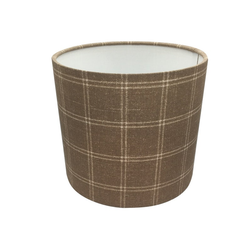 Cappucino Check Brown Handmade Fabric Lampshade Lightshade image 0