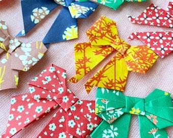 16pcs Origami bows with Japanese pattern (wagara)