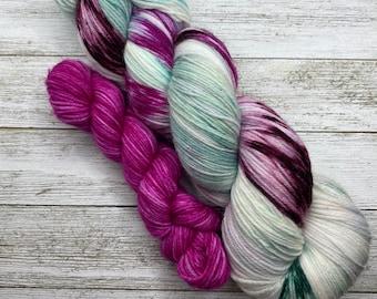 Pink, Teal, Plum, Hand Dyed Merino Nylon, Merino Cashmere, Fingering Sock Yarn, Superwash, Hand Painted, Sock Sets, Choose Your Base!
