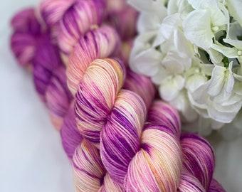 Pink, Yellow, Hand Dyed 75/25 Merino Nylon Fingering Sock Yarn, Superwash, Hand Painted, Choose Your Base!