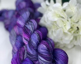 Purple, Plum, Berry, Black, Hand Dyed 75/25 Merino Nylon Fingering Sock Yarn, Superwash, Hand Painted, Choose Your Base!
