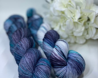 Blue, Grey, Black, Purple, Hand Dyed 75/25 Merino Nylon Fingering Sock Yarn, Superwash, Hand Painted, Choose Your Base!