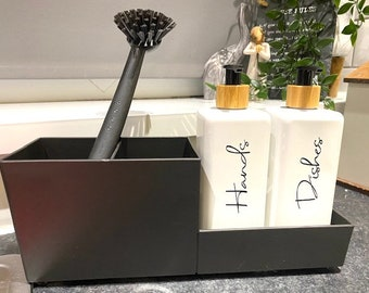 Monochrome soap dispenser & sink organiser | kitchen storage | soap dispenser | dish soap | hand wash bottle | matching | black kitchen