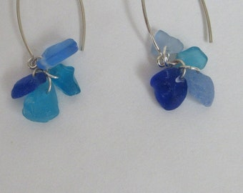 Blue sea glass earrings with multi-tone drops