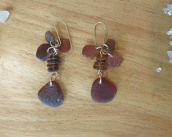 Amber large drop sea glass earrings