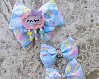 Rainbow Hair Bow Rainbow Headband Rainy Day Headband Rainy Day Hair Bow