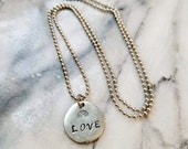 Rainbow Love pineapple Hand-Stamped Charm necklace