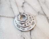 Tiered Washer necklace hand stamped pineapple rainbow warrior