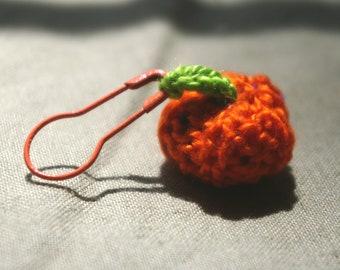 Hand Knit Miniature Pumpkin Stitch Marker