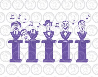 Haunted Mansion SVG | Grim Grinning Ghosts SVG | Singing Busts Cut Files for Silhouette Cameo & Cricut ai, eps, pdf, dxf, svg Halloween SVG
