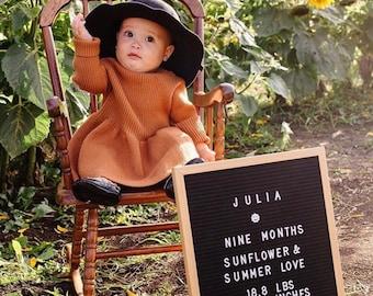 Baby Sweater Dress, Pumpkin Dress, Thanksgiving dress, Burnt Orange Dress, Baby Birthday, Baby Photography, Autumn Wear