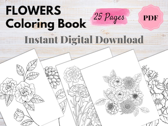 Flowers Coloring Book PDF 25 Pages  Printable Floral Coloring