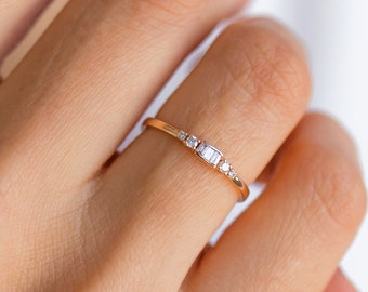 Baguette Diamond Gemstone Tiny Ring 14k Solid Gold Dainty Promise Ring Wedding and Engagement Charm Ring Wedding Gift Mother's Day