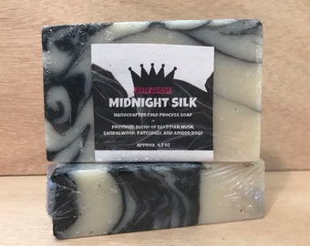 Midnight Silk Cold Process Soap - Egyptian Musk, Sandalwood, Patchouli, and Amber Rose Scent