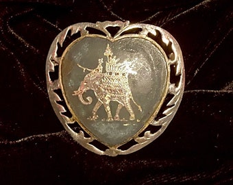 Vintage Indian handmade oxidized sterling 925 silver brooch signed Siam stamped 925 pendant with elephant pattern embossed