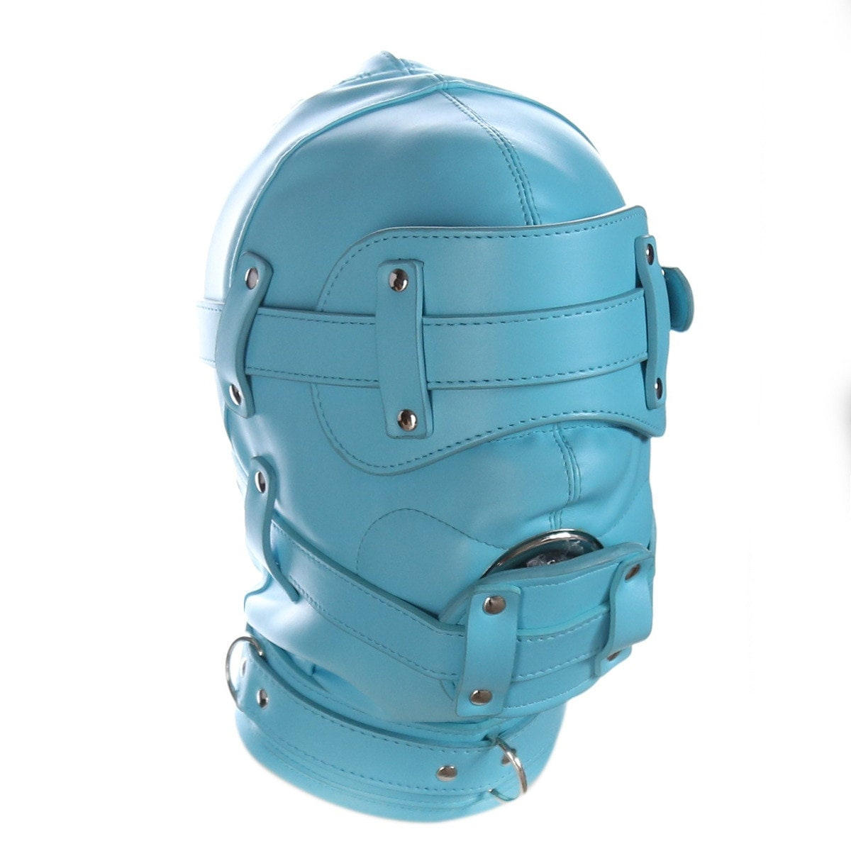 Sensory Deprivation Bondage Hood With Open Mouth Penis Gag available in 3 colours