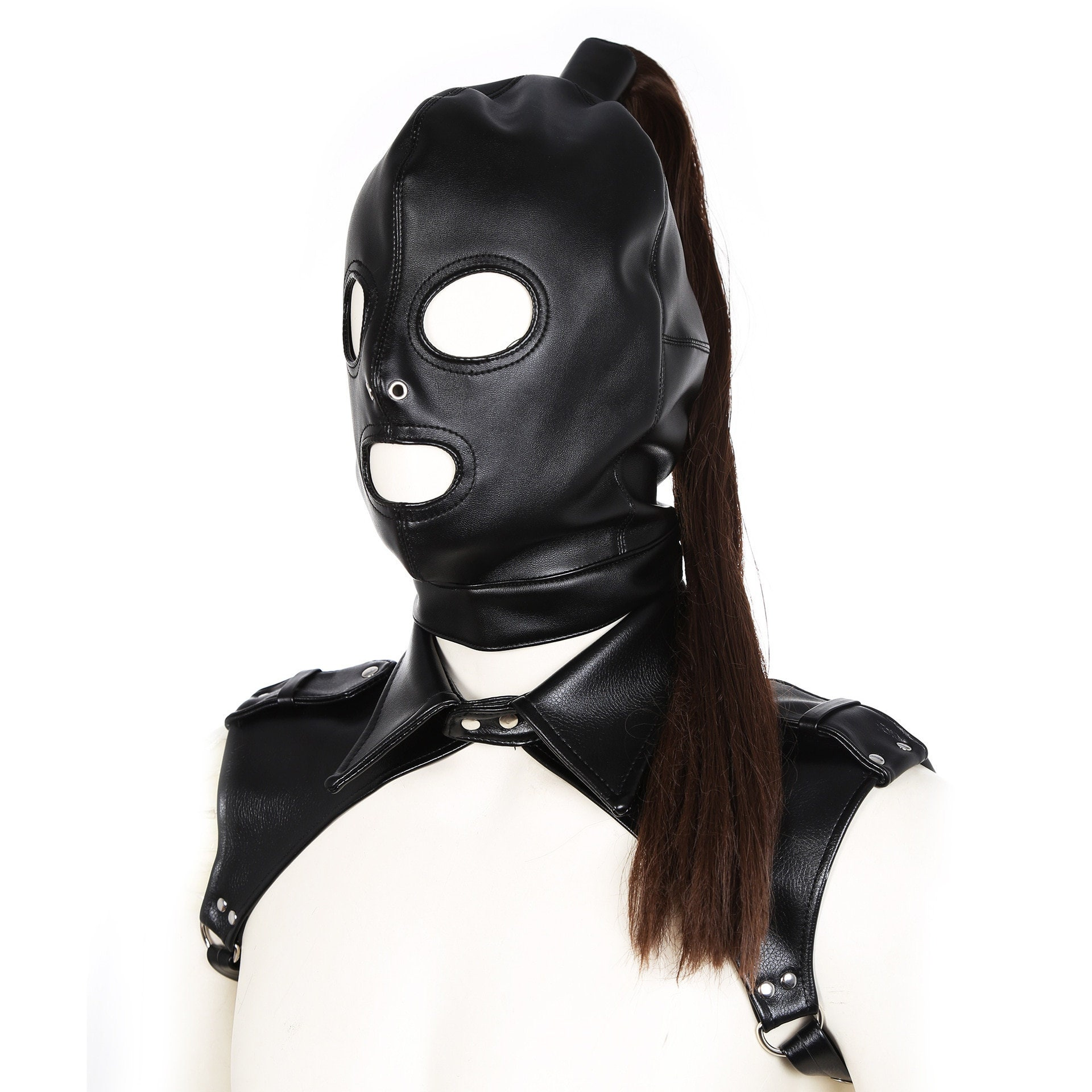 Exotic Leather Tank harness And Open Mouth Bondage Hood Mask with Braid Tail