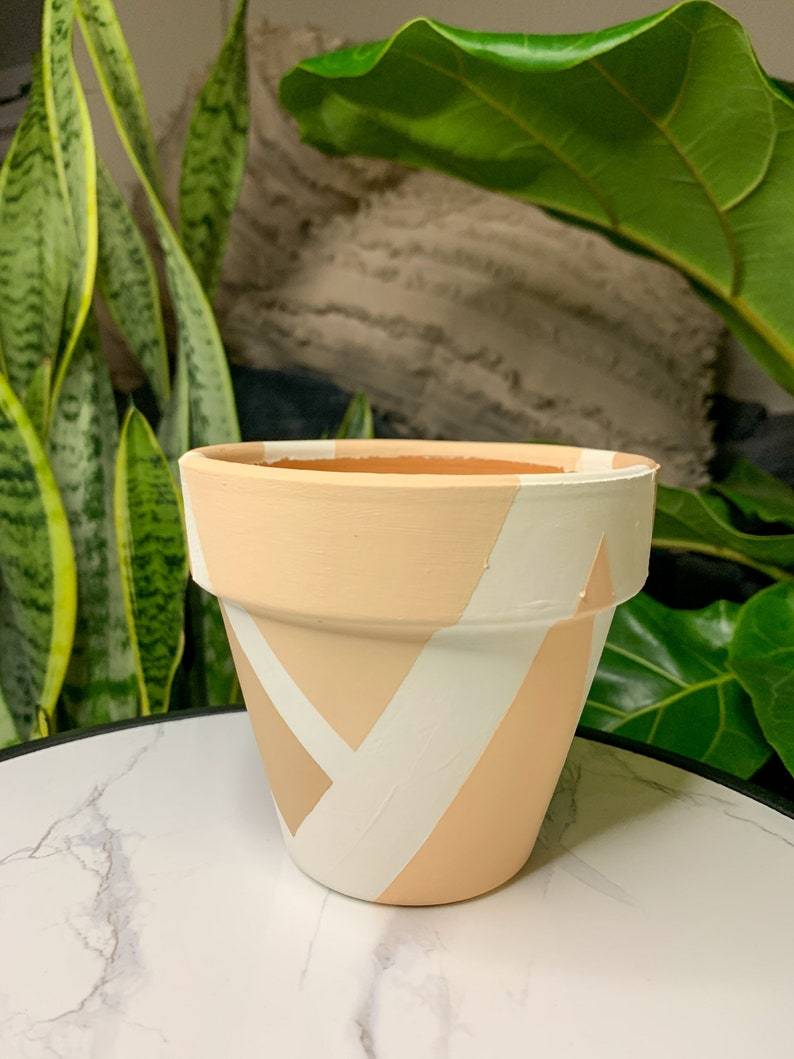 Hand Painted Boho Terracotta 4 inch or 6 inch Planter Pot with Drainage Hole