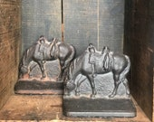 Vintage Cast Iron Grazing Horse Bookends Cast Iron Bookends Equestrian