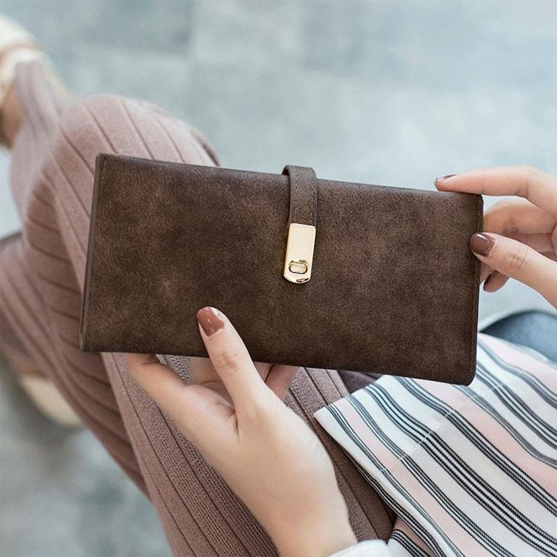 Ultra Slim Wallet for Women,Ladies RFID Bifold Long Thin Card Phone Holder Zip Purse