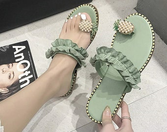 Women cute yellow white sandal slipper shoes pineapple green casual korean girl gift fashion size pretty footware buy and get free anklet