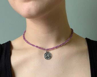 Handmade Jewelry. Libra Horoscope Necklace Zodiac Necklace with Glass Teardrop and Fresh Water Pearl Libra Astrology Necklace