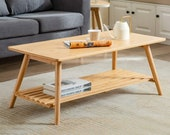 Wooden Coffee Table Foldable Bamboo Cocktail Table TV Stand with Open Storage Shelf Center Table for Living Room Furniture